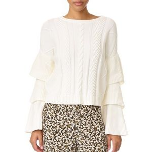 Endless Rose Ruffle Cable Knit Sweater, S